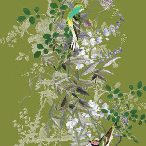 """Angel and Boho """"Jardin des Oiseaux Chinoiserie"""" in Chartreuse"""