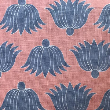 """Alex Conroy Textiles """"Double Lotus """"in Coral/Wedgwood"""