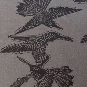 "Anne Kirk Textiles ""Birds"" in Graphite & Currant"