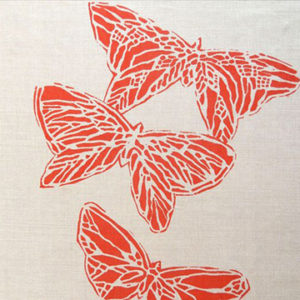 "Anne Kirk Textiles ""Monarch"" in Natural & Poppy"