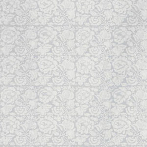 "Bennison Fabrics ""All Over Floral Negative"" in Pale Grey on Oyster"