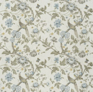 "Bennison Fabrics ""Chinese Pheasant"" in Blue Green on Oyster"