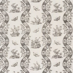 "Bennison Fabrics ""Chinese Toile"" in Charcoal on Oyster"