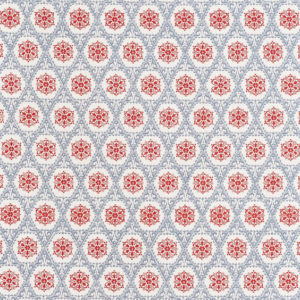 """Bennison Fabrics """"Cordoba"""" in Blue Red on Oyster"""