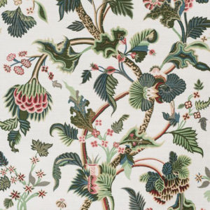 """Bennison Fabrics """"Crewelwork"""" in Jungle Colors on Oyster"""