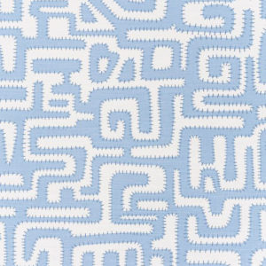 "Bennison Fabrics ""Great Cactus"" in Blue Blue on Oyster"