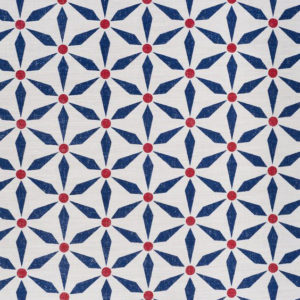 """Bennison Fabrics """"Great Morroco"""" in Blue Red on Oyster"""