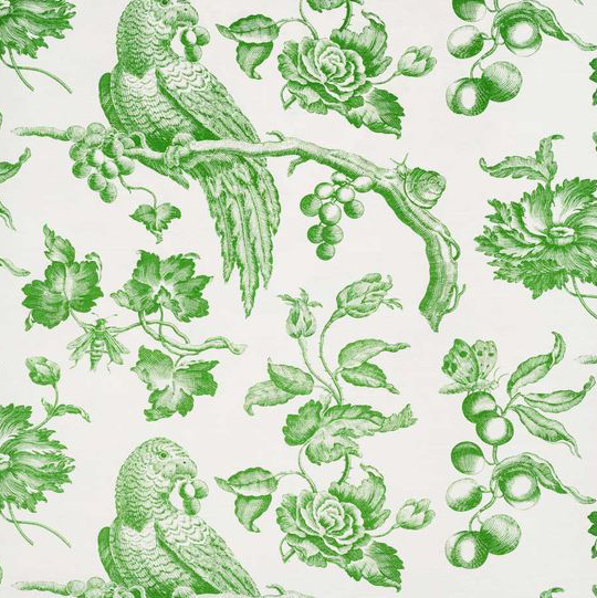 "Bennison Fabrics ""Great Toile"" in Emerald Green on Oyster"
