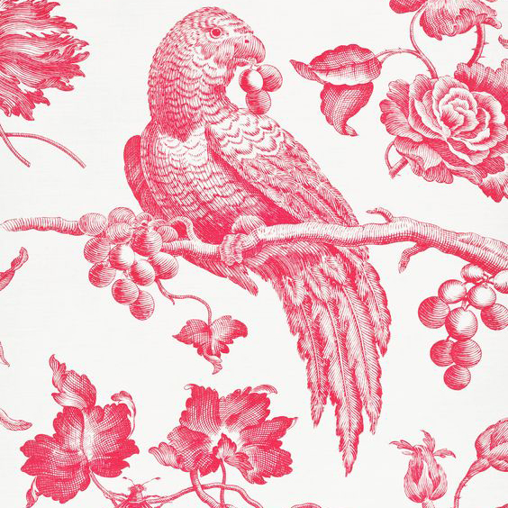 "Bennison Fabrics ""Great Toile"" in Lipstick Pink on Oyster"