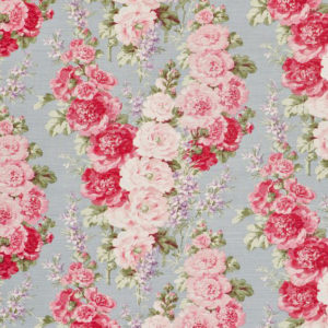 "Bennison Fabrics ""Hollyhock"" in Blue on Oyster"