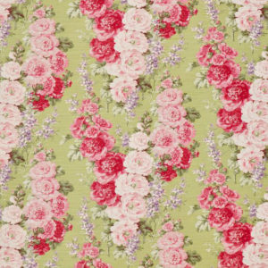 "Bennison Fabrics ""Hollyhock"" in Green on Oyster"