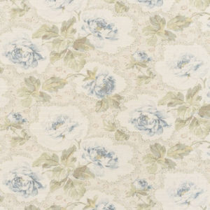 "Bennison Fabrics ""Kashmir"" in Blue Green on Oyster"