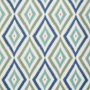 "Bennison Fabrics ""Little Aztec"" in Blue Green Orange on Oyster"
