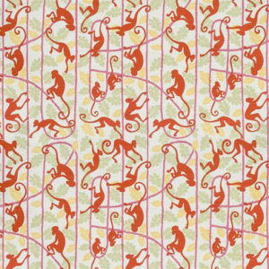 "Bennison Fabrics ""Monkey Puzzle"" in Pink Orange on Oyster"