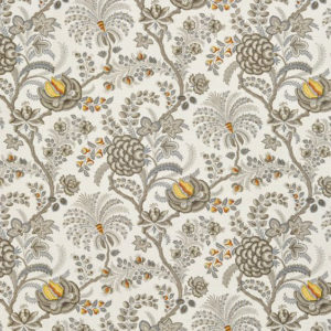 """Bennison Fabrics """"Palampor"""" in Charcoal Blue on Oyster"""