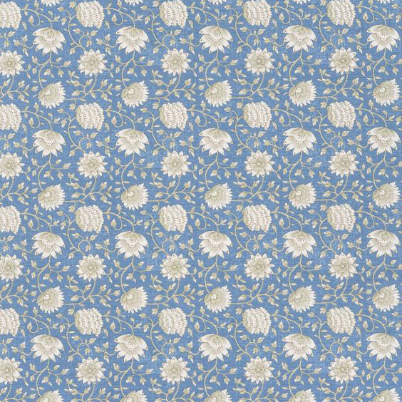"""Bennison Fabrics """"Pali"""" in Blue Green on Oyster"""