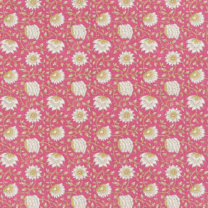 "Bennison Fabrics ""Pali"" in Pink Yellow on Oyster"