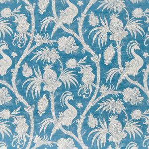 "Bennison Fabrics ""Phoenix"" in Mid Blue on Oyster"