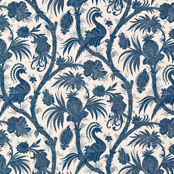"Bennison Fabrics ""Phoenix"" in Original Blue on Oyster"