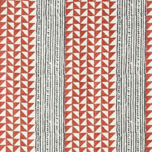 "Carolina Irving Textiles ""Aegean Stripes"" in Terracotta & Indigo"