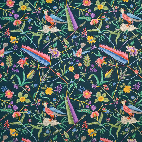 """Clarence House """"Les Fetes Oiseaux Exotiques"""" in Navy 2"""