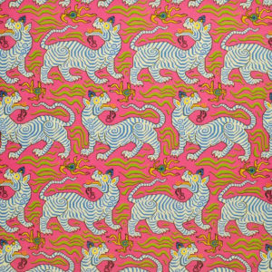 "Clarence House ""Tibet Print"" in Hot Pink 7"