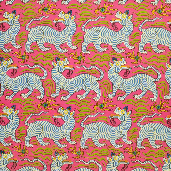 """Clarence House """"Tibet Print"""" in Hot Pink 7"""