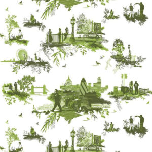 "Timorous Beasties ""London Toile"" in Greens"