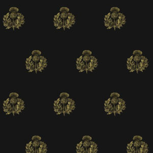 """Timorous Beasties """"Little Thistle"""" in Black & Pale Gold on Black"""