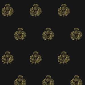 "Timorous Beasties ""Little Thistle"" in Black & Pale Gold on Black"