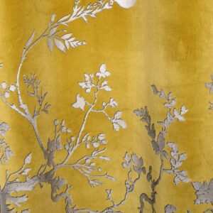 "Timorous Beasties ""Birdbranch Velvet Panel"" in Blacks & Pale Gold on Honey"