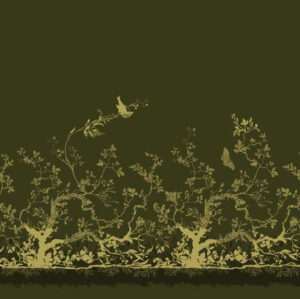 "Timorous Beasties ""Birdbranch Velvet Panel"" in Blacks & Pale Gold on Olive"