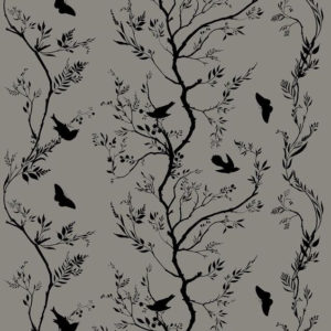 "Timorous Beasties ""Birdbranch Stripe Velvet"" in Black on Grey"