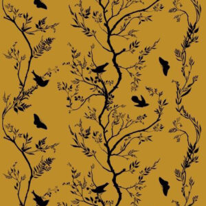 "Timorous Beasties ""Birdbranch Stripe Velvet"" in Black on Honey"