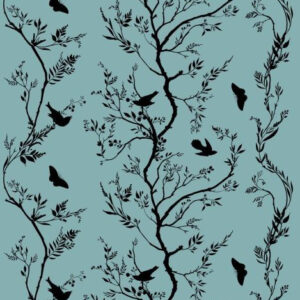 "Timorous Beasties ""Birdbranch Stripe Velvet"" in Black on Sea Blue"