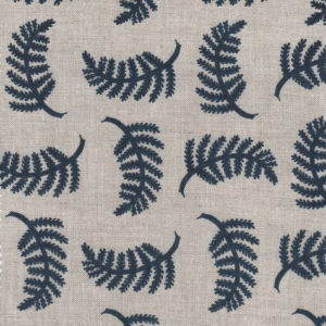 "Madder Cutch & Co ""Achillea Foliage Large"" in Burghley Blue on Natural"