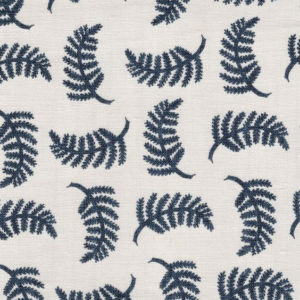 "Madder Cutch & Co ""Achillea Foliage Large"" in Burghley Blue on white"