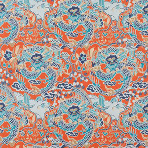 "Thibaut ""Imperial Dragon"" in Coral & Turquoise"