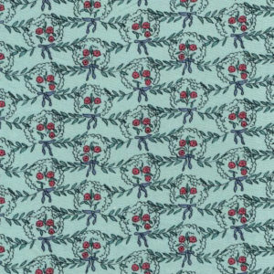 """Whiteworks The JET Fabric Collection """"Posy Linen"""" in Blue & Red Flower"""