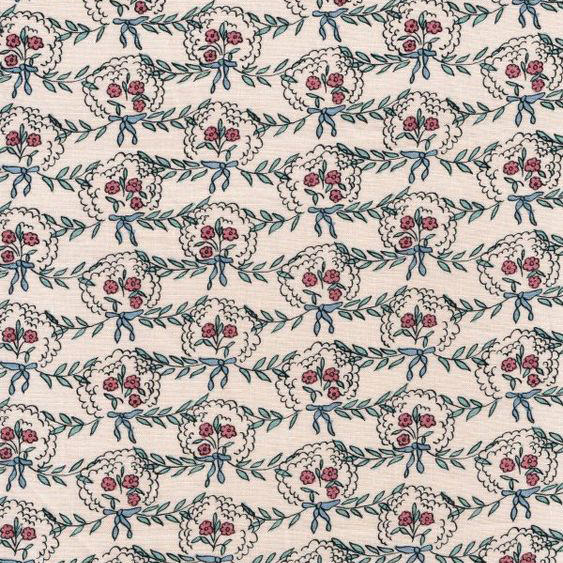 "Whiteworks The JET Fabric Collection ""Posy Linen"" in Pink & Red Flower"